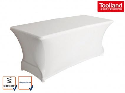 Robuster Klapptisch Rattan-Design 180x75cm mit Stretch Husse - weiß Gartentisch