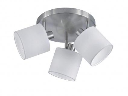 LED Deckenstrahler 3 flammig mit Stoffschirm in Weiß - schwenkbarer Wandstrahler - Vorschau 2