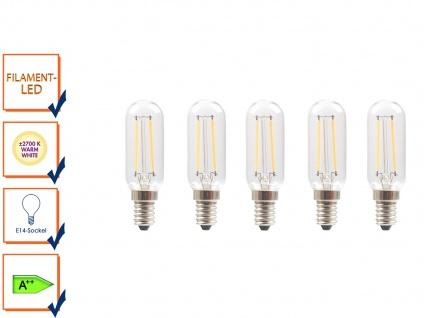 5er-Set FILAMENT-LED E14, 2 Watt, 200 Lumen, 2700 Kelvin, warmweiß