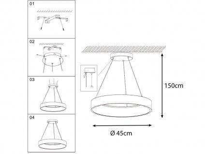 Runde LED Pendelleuchte Lampenschirm weiß - Hängeleuchte für den Esstisch Lampen - Vorschau 4