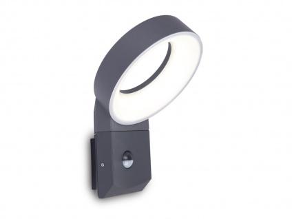 Moderner LED Wandstrahler für außen mit Bewegungssensor & rundem Lichtkopf 18cm?