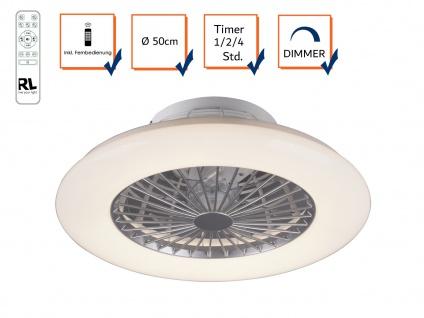 Flacher LED Deckenventilator Ø50cm mit Licht Lampe dimmbar Fernbedienung & Timer