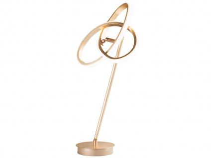 LED Nachttischleuchte in Blattgold-Optik Höhe 50cm verstellbar - Designerleuchte