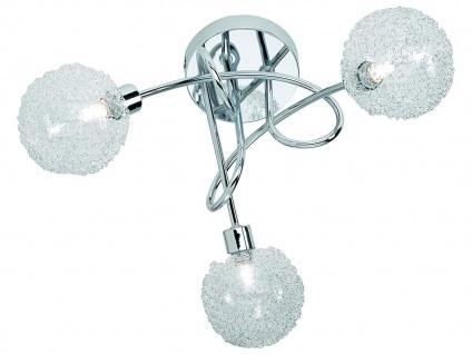 LED Deckenleuchte dimmbar 3 flammig mit Alu Drahtgeflecht in Silber Chrom Ø45cm