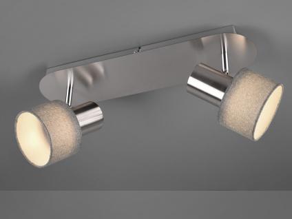 Design Deckenstrahler runde Lampenschirme Stoff 2 Spots schwenkbar Deckenlampen