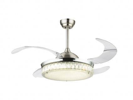 Raumlüfter mit Licht & Fernbedienung - LED Deckenventilator, Flügel einklappbar