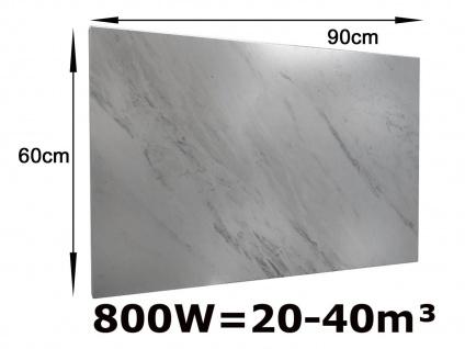 800W Infrarotheizung Marmor weiß, 90x60cm, Räume 20-40m³, IP44