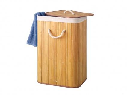 Bambus Holz Wäschekorb faltbar mit Wäschesack, eckig, Wäschebehälter Wäschebox - Vorschau 2