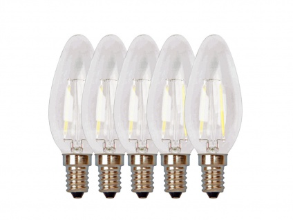 5er-Set FILAMENT-LED Kerze matt E14, 2 Watt, 190 Lumen, 2700 Kelvin