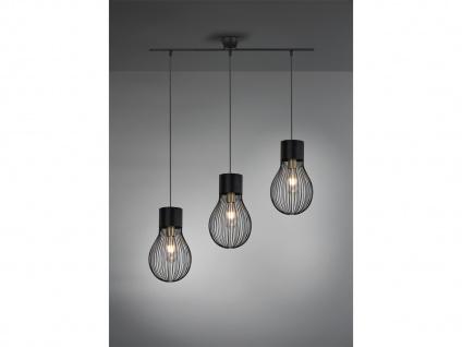 3 flammige LED Pendelleuchte RETRO Look mit Metall Gitter Lampenschirm schwarz
