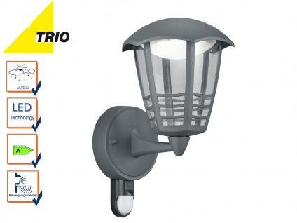 Trio LED Außenwandlampe Laterne ALMA mit Bewegungsmelder, Fassadenbeleuchtung