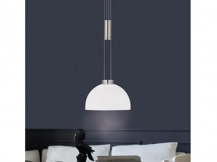 LED Pendelleuchte Silber dimmbar & höhenverstellbar mit Glas Lampenschirm Weiß
