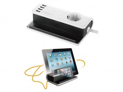 4-fach USB Tischladestation mit Steckdose für Smartphone / Tablet Dockingstation - Vorschau 3