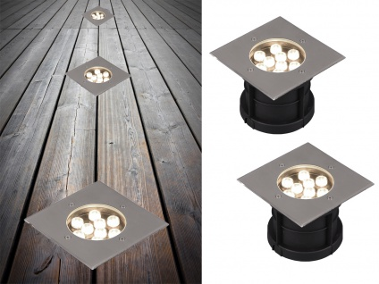 LED Bodeneinbauspot 2er Set eckig Edelstahl 16cm Bodenstrahler Einfahrt Terrasse