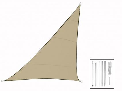 Sonnensegel Dreieck Champagner 5m mit Stangenset, Sonnenschutzsegel Terrasse