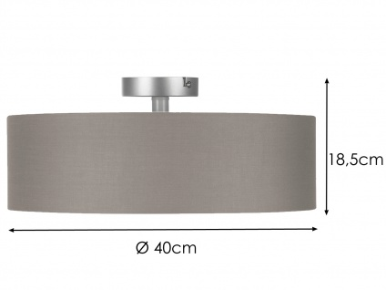 Deckenleuchte mit Stoff Lampenschirm Grau 40cm - Textil Deckenlampe Stoffschirm - Vorschau 2