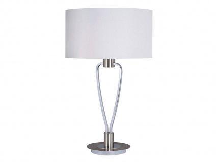Design Tischleuchte Nickel matt/chrom Lampenschirm Stoff weiß Höhe 58cm Ø 35cm