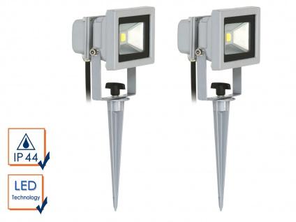 2er-Set LED Fluter 10W auf Erdspieß / Gartenleuchte, 6400K, 600Lm, IP44,