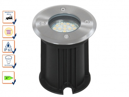 LED Bodeneinbaustrahler für Außen, rund, befahrbar bis zu 800 kg