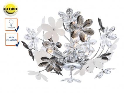 Florale LED Deckenlampe Chrom / Acrylglas Ø46cm mit Blüten, Wohnzimmerlampe