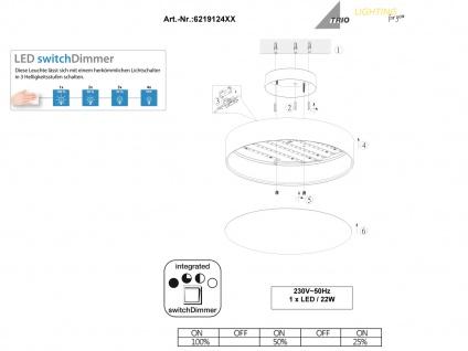 Trio LED Deckenleuchte dimmbar LUGANO 40cm Stoffschirm weiß, Wohnzimmerlampe - Vorschau 5