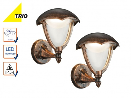 2er Set LED Außenwandlampe Laterne GRACHT rost antik, Außenbeleuchtung Haus