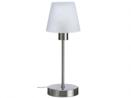 Dimmbare TOUCH Nachttischlampe, Nickel matt mit Glaslampenschirm & Leuchtmittel