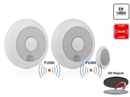 2er-Set vernetzbare Rauchmelder + Fernbedienung + Magnethalter, verlinkbar