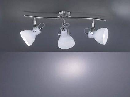3-fl. LED Strahler mit dreh+ schwenkbaren Spots in Nickel matt weiße Glasschirme