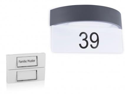 Set: 2Parteien Klingelplatte weiß + LED Hausnummernleuchte mit Dämmerungssensor