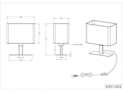 Tischleuchte in Chrom mit eckigem Stofflampenschirm in Schwarz, Wohnraumleuchte - Vorschau 5