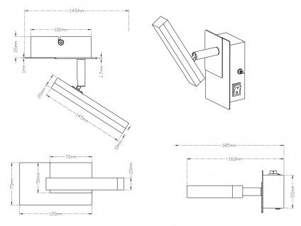 LED Wandstrahler Nickel matt Spot schwenkbar 4, 5W - Wandleuchten Schlafzimmer - Vorschau 4