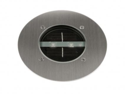LED Solar Bodeneinbaustrahler, rund, gebürstetes Edelstahl IP67 RANEX - Vorschau 1