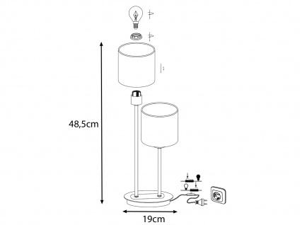 2 flammige LED Tischleuchte Stoffschirm in Schwarz /Gold Design Nachttischlampen - Vorschau 4