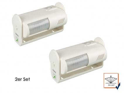2er Set Bewegungsmelder mit Alarm, 8m/60°, weiß, Bewegungssensor PIR Sensor - Vorschau 1
