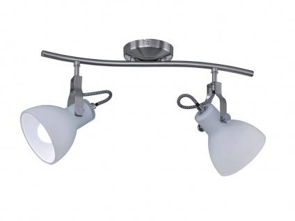 Coole Designer LED Strahlerleiste mit 2 dreh+schwenkbaren Spots in Nickel matt - Vorschau 2