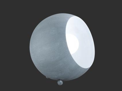 Kleine LED Tischleuchte rund aus Metall Lampenschirm in Beton Grau & innen Weiß