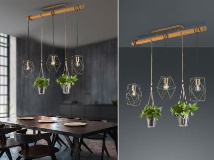 Vintage LED Pendelleuchte Holz & Metall 3-flammig Hängelampe über Esszimmertisch