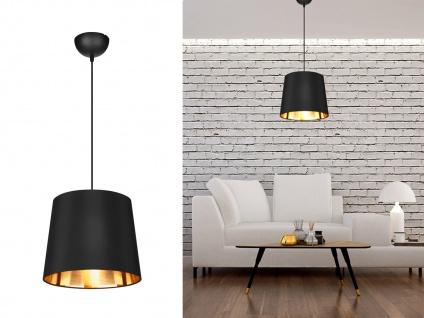 Industrie Look Pendelleuchte mit Stoffschirm Schwarz Gold für den Esstischlampen