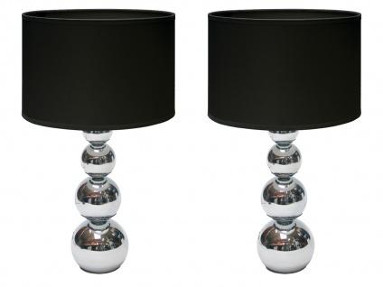 2er SET DEKO Tischleuchte mit Touch dimmbar Stoffschirm Schwarz, Nachttischlampe - Vorschau 2