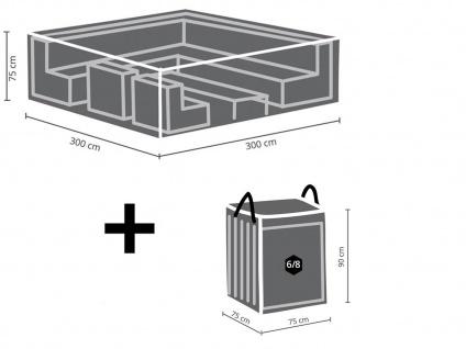 Schutzhüllen Set: Abdeckung 300x300cm für Loungemöbel + Hülle für 6-8 Polster