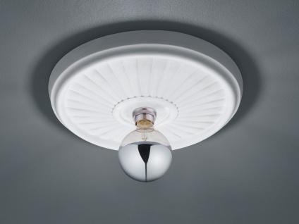 Bemalbare LED Stuckrosette Deckenlampe Gipsleuchte mit Strahlen Design rund groß
