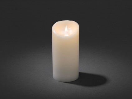 LED Echtwachskerze 3D Flamme & Timer Batteriebetrieb H. 21, 5 cm Stimmungslicht - Vorschau 2