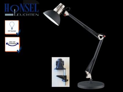 Honsel Schreibtischlampe Klemmleuchte schwarz, Leselampe Bürolampe Schreibtisch