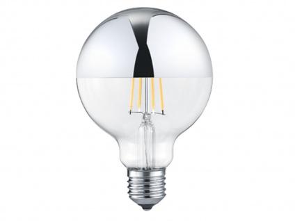 Großes, dimmbares 7 Watt Filament LED Leuchtmittel Ø 9, 5cm Chrom für E27 Fassung