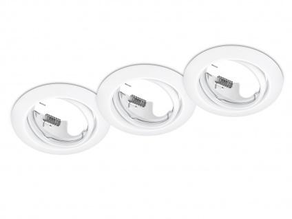 3 Einbaustrahler Decke rund schwenkbar Weiß matt GU10 LED - Deckenbeleuchtung