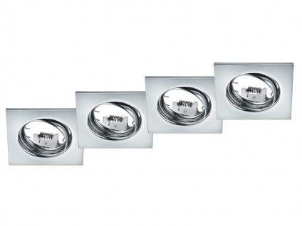 4 Einbaustrahler Decke eckig schwenkbar Chrom glänzend GU10 LED Deckenleuchten
