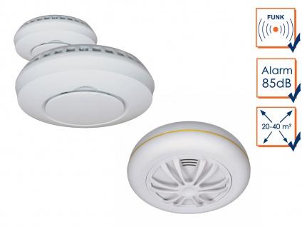 Alarmset: 2x Funkrauchmelder + Hitzemelder, vernetzte Lebensretter Thermomelder - Vorschau 3