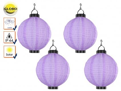 4er Set LED Solarleuchten Lampion violett Ø 25, 5cm, Beleuchtung Terrasse Garten