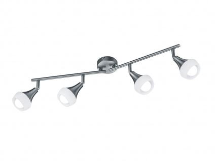 Schwenkbare Trio Wandlampe Metall Nickel matt & Glas in Weiß, 4 Spots E14 Sockel